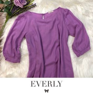 Everly Purple 3/4 Sleeve Blouse